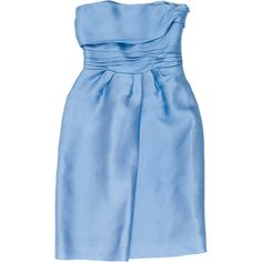 Pre-owned Alberta Ferretti Pleated Silk Strapless Dress (€120) ❤ liked on Polyvore featuring dresses, blue, strapless ruched dress, blue strapless cocktail dress, silk dress, blue strapless dress and silk cocktail dress