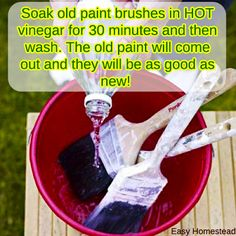 Soak old paint brushes in HOT vinegar for 30 minutes and then wash. The old paint will come out and they will be as good as new!