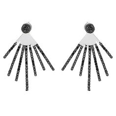 Crickets Crush Sterling Silver 2.00ctw Black Diamond Stud Earrings w/ Fan Jackets A surprising burst at your lobes! Featuring two different ways to wear, these earrings feature dome shaped studs accented with black diamonds with removable jackets hanging below. Each jacket features a fan-like design with varying lengths of rows decorated with black diamonds. You'll find two holes on each jacket for wearing at the length of your choosing while butterfly backs keep them in place. Keep it…
