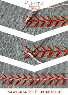 Crewel Embroidery Tutorial whipped fly stitch tutorial - Learn how to embroider with the lexicon of embroidery stitches. Step by step tutorials on how to do the fly stitch and it's variations. Crewel Embroidery Kits, Embroidery Stitches Tutorial, Embroidery Techniques, Embroidery Applique, Cross Stitch Embroidery, Embroidery Patterns, Machine Embroidery, Embroidery Thread, Knitting Stitches