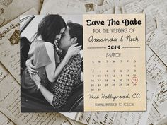 "Wedding Save The Date Magnets - HollywoodDrive Vintage Photo Personalized 4.25""x5.5"" on Etsy, $69.00"