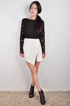 White Wrap Skirt | Dresscab