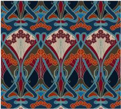 This is an adaptation of an antique wallpaper design by Rene Beauclair, circa. late 1800s.... Arts and Crafts period.  .... a repeating design, can be