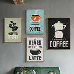Modern Canvas Art, Modern Art Paintings, Diy Canvas Art, Canvas Art Prints, Painting Prints, Kitchen Wall Art, Kitchen Unit, Coffee Wall Art, Cafe Art