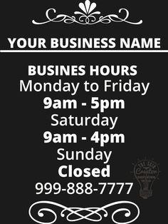 custom business store hours vinyl window decal 9 x 12 sticker sign glass door by