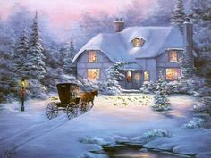 Coming home - this looks like a Thomas Kinkade painting Christmas Scenes, Winter Christmas, Christmas Home, Vintage Christmas, Merry Christmas, Thomas Kinkade Art, Thomas Kinkade Christmas, Kinkade Paintings, Thomas Kincaid