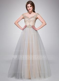 A-Line/Princess Off-the-Shoulder Floor-Length Taffeta Tulle Prom Dress With Beading Sequins (017041096)