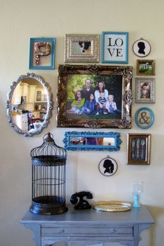 painted frames and photo collection