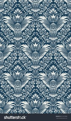 Damask seamless #pattern with #owl silhouette. #Vintage repeating #background. Floral ornament of blue tones in baroque style.