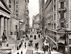 Wall Street east from Nassau Street, Irving Underhill 1911. My old commute to 55 Wall St, on the right