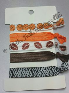 5 Elastic Hair Ties  Solid basketball by AlltheFrillsBowtique