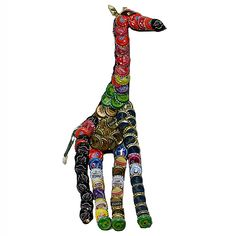 Made with recycled metal bottle caps in various colors, this one of a kind art piece was handmade by skilled artisans in Kenya. Composed in the shape of a giraffe, adorn your walls with this whimsical
