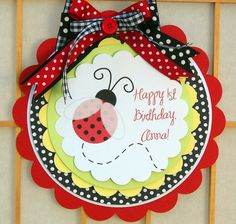 Ladybug Door Sign Party Sign Garden Party by OneFantasticParty2