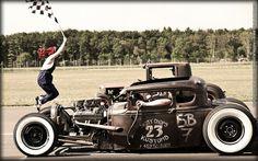 Vintage Rat Rods racing in HDR