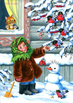 Christmas Scenes, Christmas Pictures, Christmas Snowman, Kids Christmas, Christmas Crafts, New Year Illustration, Christmas Illustration, Baby Zoo Animals, Hello Winter
