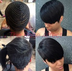 Résultat d'images pour Sew in Hairstyles for Black Women 27 Piece Short Sew In Hairstyles, Track Hairstyles, Black Women Hairstyles, Cute Hairstyles, Short Hair Sew In, Braided Hairstyles, Short Weave Styles, 27 Piece Quick Weave, Curly Hair Styles