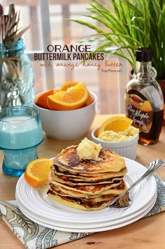 Orange Buttermilk Pancakes-light and fluffy pancakes with a hint of orange served with whipped orange honey butter make a perfect spring breakfast! Waffle Recipes, Brunch Recipes, Breakfast Recipes, Brunch Ideas, Pancake Recipes, Soup Recipes, Easy Recipes, What's For Breakfast, Breakfast Pancakes