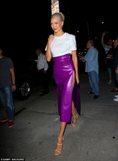 She's no shrinking violet! Karlie Kloss stopped people in their tracks as she stepped out in West Hollywood to attend the Hanes X Karla party in daring purple skirt that was certain to drop jaws