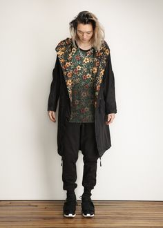 Y-3 - Nylon Parka (Black / Flower) Parka, Kimono Top, Beauty, Black, Tops, Flowers, Design, Women, Style