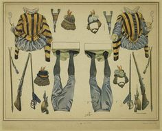 French Soldier uniform and weapons of the century from the NYPL digital collection Middle Age Fashion, Paper Dolls Printable, French Army, Vintage Paper Dolls, New York Public Library, 15th Century, Paper Art, Weapons, Vintage World Maps