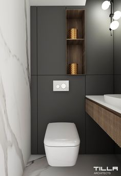 Small Toilet Design, Small Toilet Room, Guest Toilet, Downstairs Toilet, Bathroom Design Small, Bathroom Interior Design, Modern Bathroom, Toilet Decoration, Wc Design