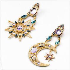 #Sun & #Moon Austrian #Crystal #Earrings
