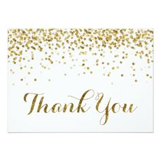 Gold Glitter Confetti Wedding Thank You Card