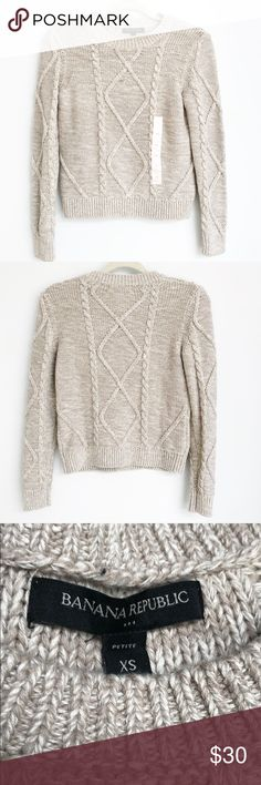⭐️NWOT⭐️Banana Republic Heather Cable-knit Sweater Sweater still has size sticker on it but the tags have been removed. The bust measurement is approximately 16 inches across lying flat and the length is approximately 20 inches. The fabric content is 100% cotton. Banana Republic Sweaters Crew & Scoop Necks