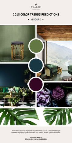 BRABBU created some inspirational mood boards based on the 2018 color trends predictions. Take a look at these next interior design trends!