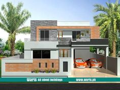 House front elevation design, view, interior design images in Pakistan. 5 Marla, 10 Marla, 1 Kanal house designs ideas pictures in Pakistan - Waris.