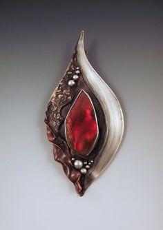 Ammolite Mixed Metal Art Bronze Copper Silver Statement by RedPaw, $199.00
