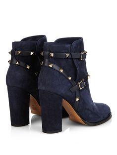 Short Heel Boots, Block Heel Ankle Boots, Suede Ankle Boots, Suede Booties, Bootie Boots, Shoe Boots, Ankle Booties, Heeled Boots, Valentino Boots