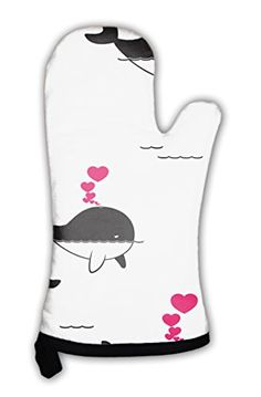 Gear New Oven Mitt, Pattern With Whale And Hearts, GN2064...