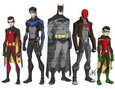 bat family young justice style. by ~robert023 on deviantART Tim Drake, Dick Grayson, Bruce Wayne, Jason Todd and Damian Wayne. From left to right.