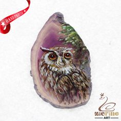 HAND PAINTED OWL GEMSTONE CREATIVE NECKLACE PENDANT BEAD ZL80 21796 #ZL #PENDANT