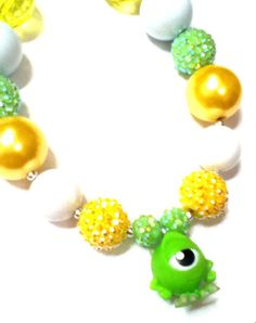 Monsters Inc Monsters University chunky bead bubblegum necklace via Etsy
