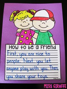 """Pair with the book, """"How to Make a Friend"""" FREE No Prep Writing Crafts - 3 fun writing crafts for you to try out with your students that are no prep! This is free sample of my HUGE BUNDLE of these! NO PREP Writing Crafts BUNDLE {Growing} Fun Writing Prompts, Cool Writing, Writing Workshop, Teaching Writing, Writing Activities, Craft Activities, Creative Writing, Friend Activities, Teaching Ideas"""
