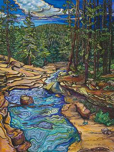 Looking Downstream (Provo River Falls, Utah) by Alexandria Winslow Watercolor Landscape, Landscape Art, Landscape Paintings, Watercolor Art, Landscapes, Small Canvas Art, Southwest Art, Hippie Art, Mexican Art