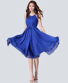2014 New  Women Summer Big Size Slim Beach Vacation Bohemian Dress Fashion High Street Long Chiffon Dress 5 Colors #LF5032 US $17.98