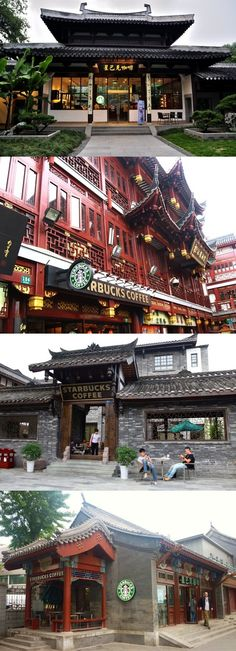 See how Starbucks embracing Chinese Architecture. Can you tell which is the one…
