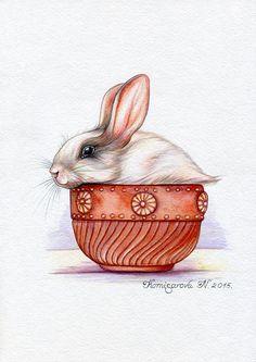 Bunny rabbit hare Watercolor Original от NatalieStorePainting