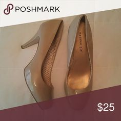 Madden Girl Nude Heels Nude/Beige patent leather, round toe, size 10, 2 inch heel. Worn twice, minor scuffs and marks. Madden Girl Shoes Heels