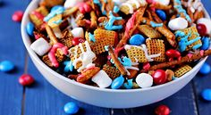 Red, White and Blue Chex Mix- could make this for any holiday just by changing the color of the chocolate.