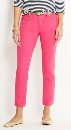 I like bright colored chinos. But more importantly I like the style of these pants. cropped. Cigarette pant leg. Belt loops. Center zip. And it looks like f&b pockets. Those details consistently fit me better.