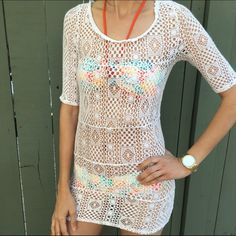 Free people white crochet cover up! Free people white crochet cover up! Never worn. Very soft with a nice stretch to it. Size XS. Bundle and save! Free People Swim Coverups