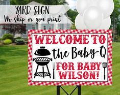 Baby Q Baby Shower Sign Barbeque Baby Shower Yard Sign Baby Q Shower, Baby Shower Diapers, Baby Shower Signs, Baby Shower Barbeque, Diaper Shower, Birthday Yard Signs, Birthday Bbq, Birthday Ideas, Bbq Signs