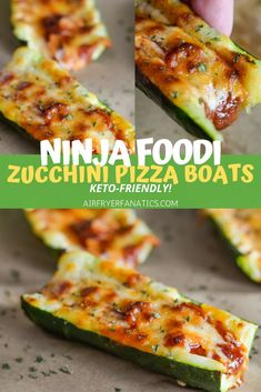 Make these delicious Air Fryer Zucchini Pizza Boats in your Air Fryer or Ninja Foodi. These make for a great, low-carb option with that pizza flavor you crave! #AirFryer #NinjaFoodi #Keto #LowCarb