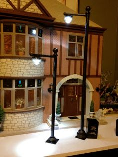 Jocelynu0027s Mountfield Dollhouse Street L& Post Made Using Battery Operated Floral LED Lights & Miniature Homes Creatively Attatched to Lighting Designs: House ... azcodes.com
