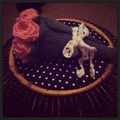Crochet rose and leaf wedding bouquet