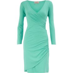 Green cross over pleated dress - Dorothy Perkins - Polyvore